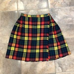 VTG 70's Tartan High Waist Wrap Skirt Rainbow S